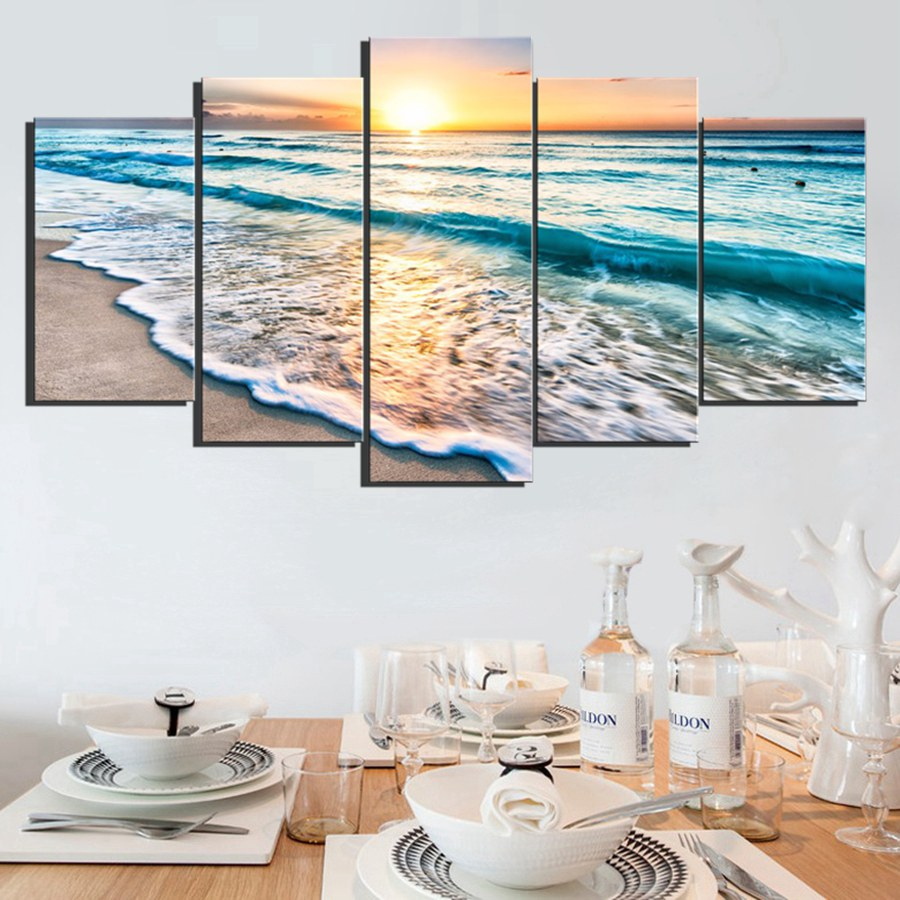 5 panels wall art sunset beach canvas prints sea wave for Sea decorations for home
