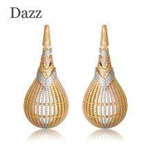 Dazz Luxury Large Copper Earrings Three Tones Color Shiny CZ Zircon Big Drop Earrings Women Lady Party Wedding Jewelry Gifts