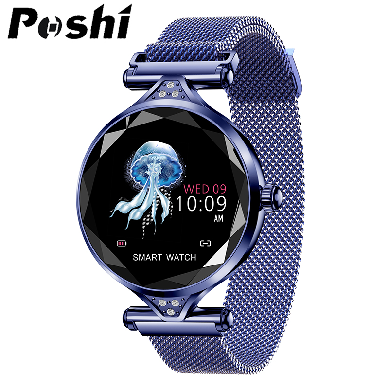 New Smart Watch Fashion H2 Smart Wristband Women 3D Diamond Glass Heart Rate Blood Pressure Sleep Monitor Valentine\`s Day Gift