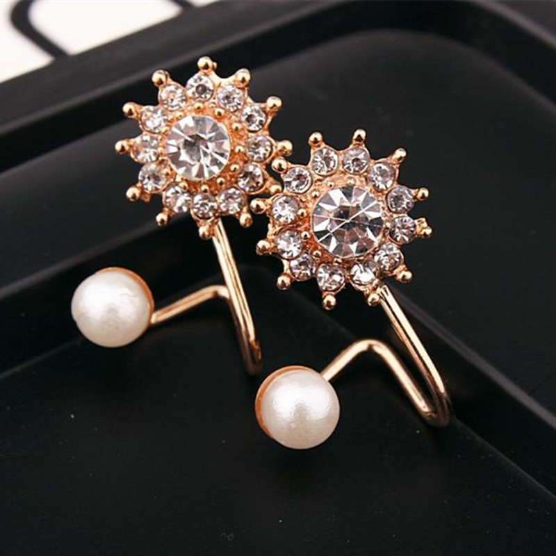 E518 Manis berlian imitasi simulasi pearl snowflake earrings wanita 2017 baru trendy anting perhiasan bijoux grosir