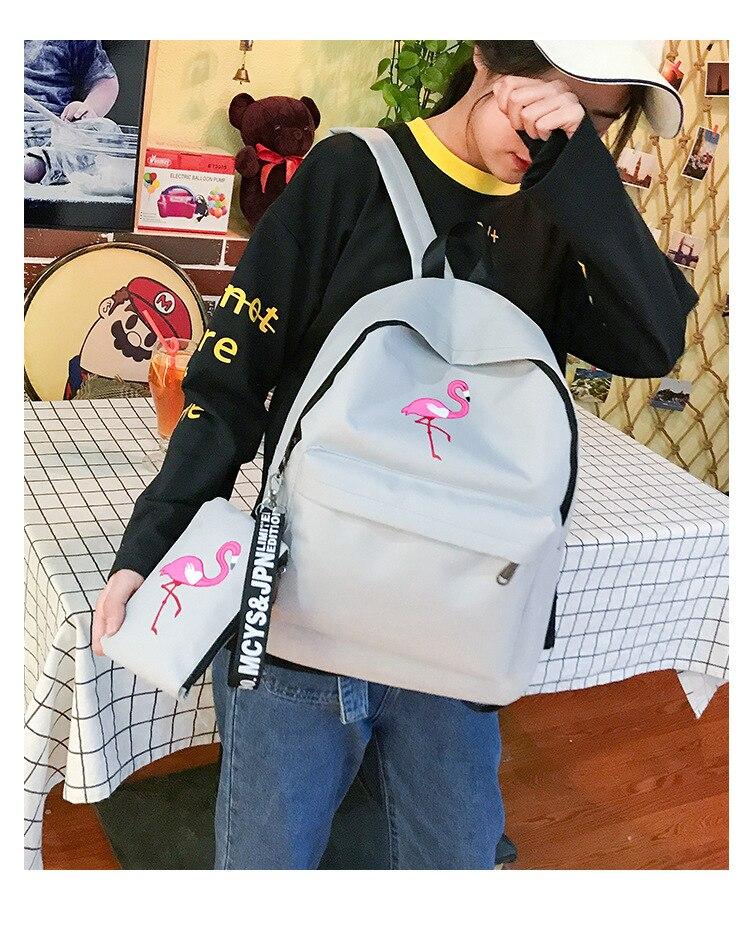 HTB1SMDsdi6guuRjy0Fmq6y0DXXaQ Backpacks Brand Women Simple Flamingo Printing Backpack For Teenage Girls Laptop School Bags Mochila 2019