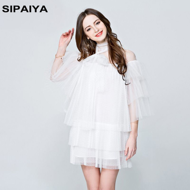 4e42aac5d165 Runway Women s Dresses Sexy Lace Spring Summer Women Mesh Bow Mini Party  Dress Brand Flare Sleeves