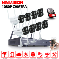 NINIVISION Plug And Play 8CH NVR Wireless CCTV System 1080P HD IP66 Mini Home Security Video