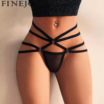 FINEJO 2018 Womens Panties Sexy Hollow Strappy Lingerie G-string Briefs Underwear Panties T string Thongs Briefs Exotic Lingerie Женские трусы