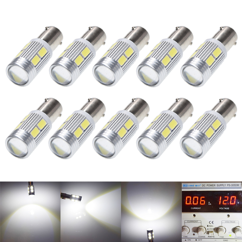 10Pcs New Bulb 5630 5730 SMD 10 LED H6W BAX9S 150 Degrees LED Lamp For Parking Light /DRL/Front rear Turn Signal lights 12V DC-in Signal Lamp from Automobiles & Motorcycles