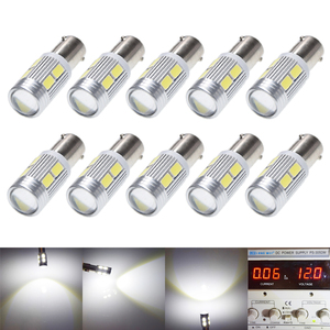 Image 1 - 10Pcs New Bulb 5630 5730 SMD 10 LED H6W BAX9S 150 Degrees LED Lamp For Parking Light /DRL/Front rear Turn Signal lights 12V DC