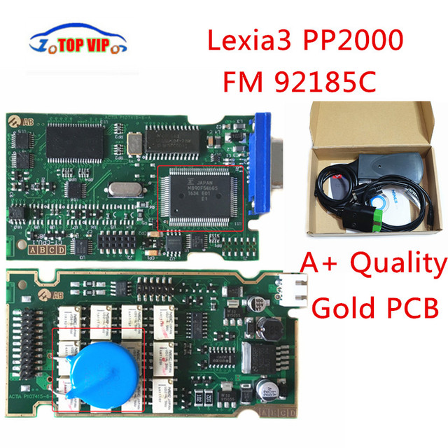 2018 Top Gerelateerde Gold PCB Lexia 3 Hoge Kwaliteit V7.83 Firmware 92185C Lexia3 pp2000 OBD2 Diagnose Voor C-itroen P-eugeot