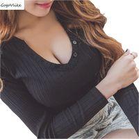 שחור חזה פתוח צוואר V למעלה Tees שרוול ארוך בסגנון קוריאה חולצת feminina נשים הדוקה הולמת רזה השפל T LT563S30