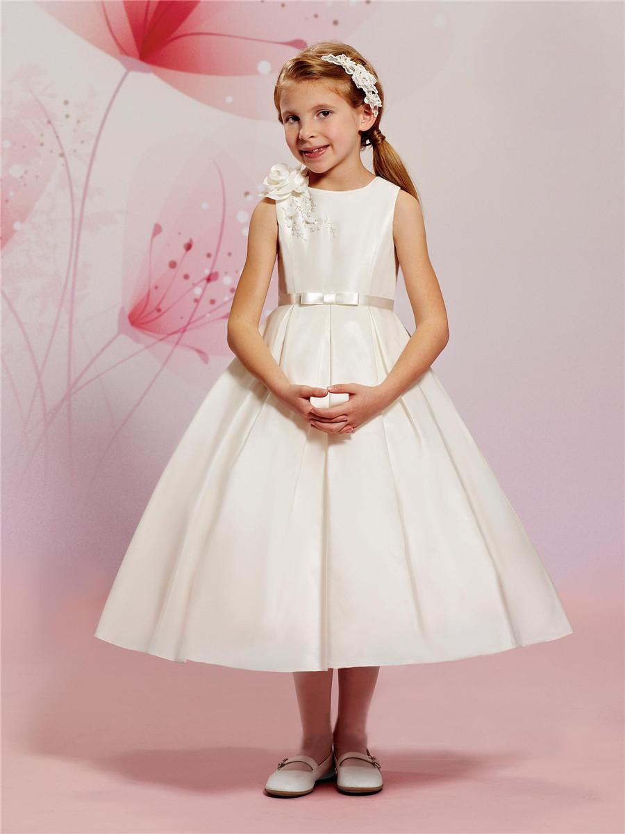 Vintage Satin Flower Girl Dresses For Weddings Ball Gown 2017 Cheap