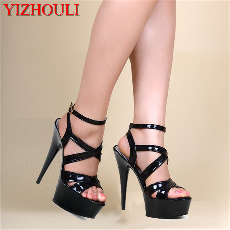 buckle strap Stiletto Shoes 6 inch pole dancing Platforms shoes black 15cm  cross-tied sexy b126affb0ca6