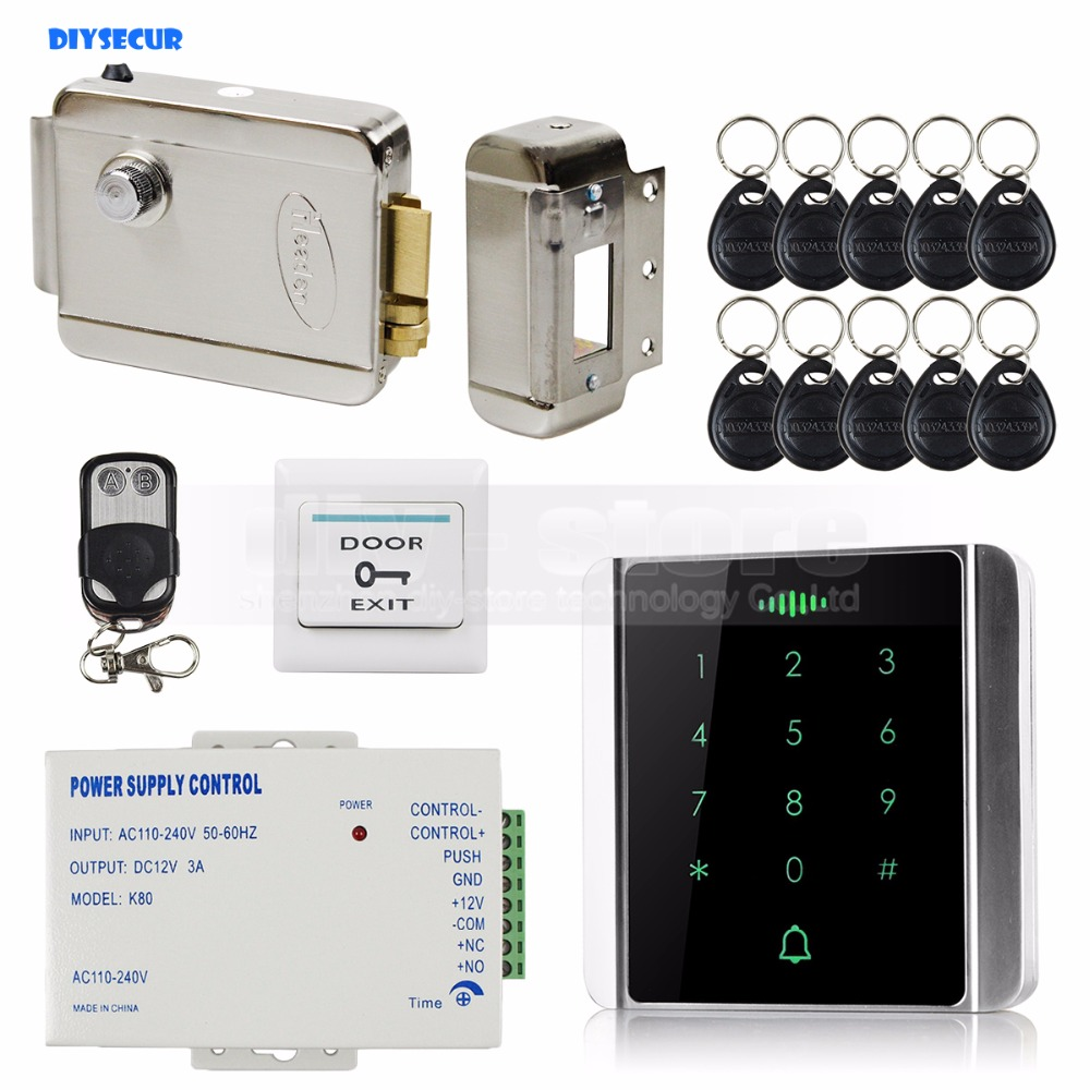 DIYSECUR 125KHz RFID Reader Password Keypad + Electric Lock + Wireless Remote Control Access Control System Security Kit diysecur magnetic lock door lock 125khz rfid password keypad access control system security kit for home office