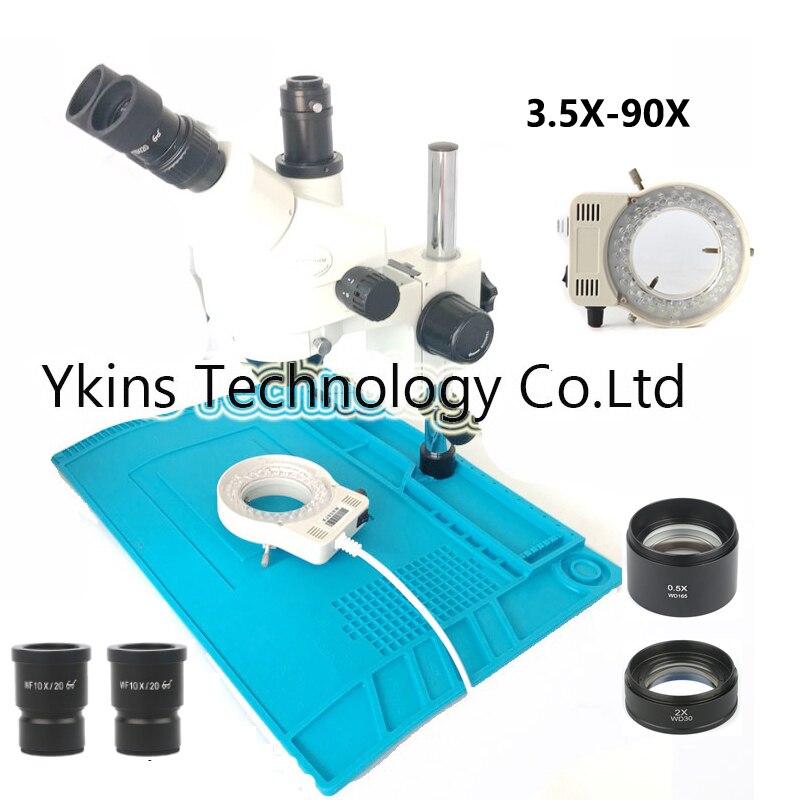 7-45X/3.5-90X Bras Vertical microscope trinoculaire Équipements Industriels Continue microscope à zoom + 56 lumière led + Pad