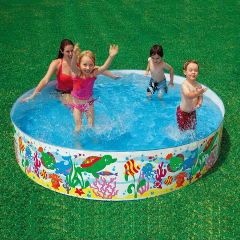 244 46cm free inflatable round pool no air pump pool baby for Plastik pool rund