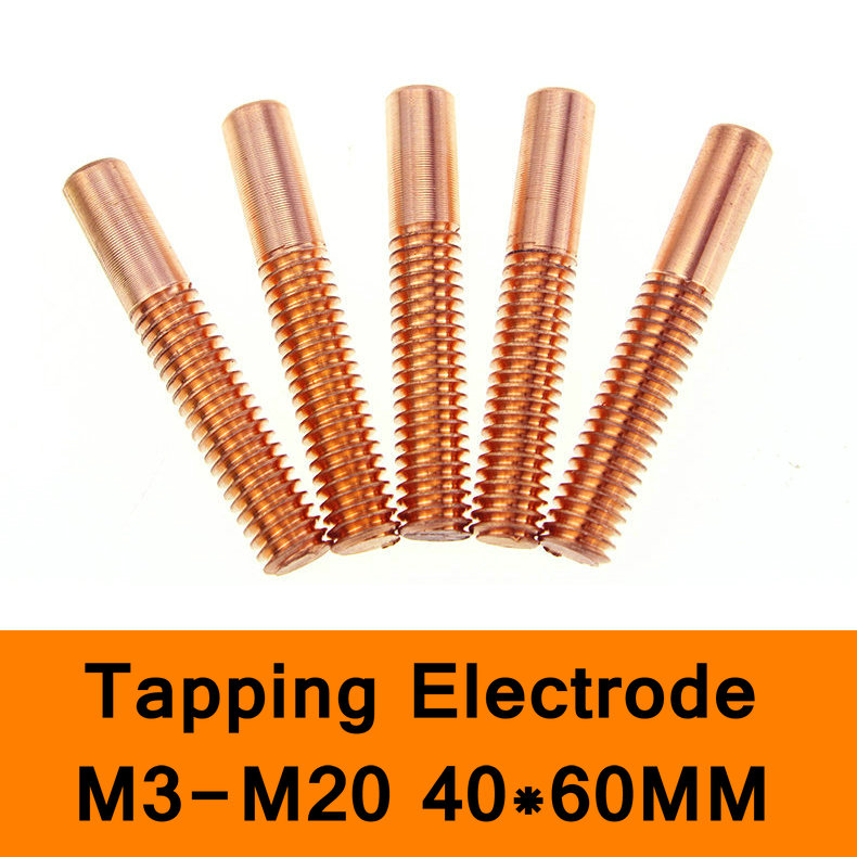 Pure Copper Orbital Tapping EDM Electrode Hole Thread Electrode Discharge Red Copper Screw Tooth Metric Size M3 to M20 40X60mm 20pcs m3 m12 screw thread metric plugs taps tap wrench die wrench set