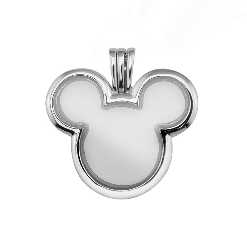 Fits for Charms Necklace Original 925 Sterling Silver Mickey Floating Locket Charm Beads Making DIY Jewelry