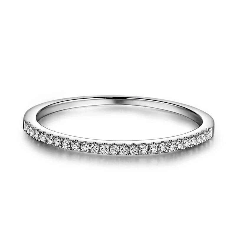 Demi Eternity Anneau Solide 14 k Blanc Or 1/10CT Naturel Diamant Femmes Engagement Wedding Band À La Mode Fine Jewelry cadeau