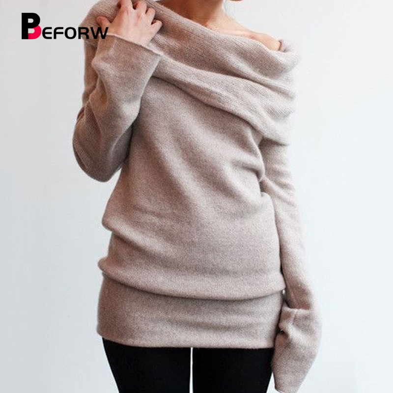 BEFORW Women Knitted Sweater Female Sexy Off Shoulder Long Sleeve Slim Sweaters 2018 Autumn Winter Casual Pullover Tops jumper