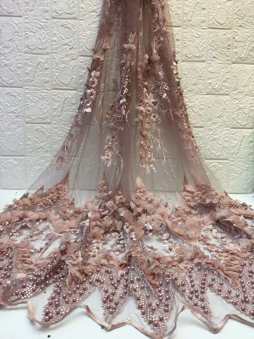 NEW High Quality 2019 Tulle Beaded French Nigerian Lace Fabrics Pearls Embroidered Guipure African 3d Lace