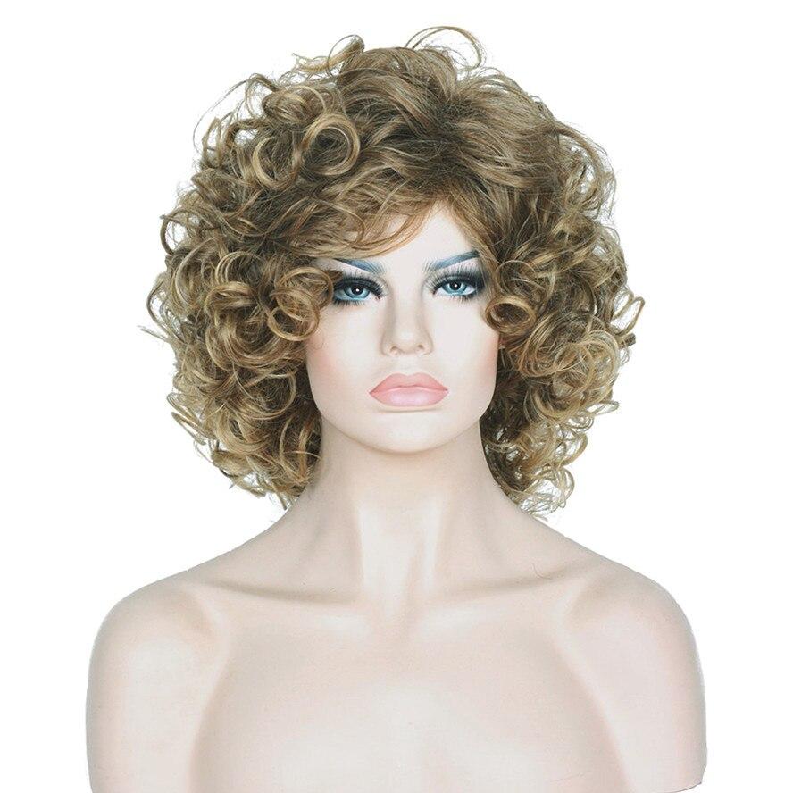 mujeres shotr peinados pelo rizado mullido natural peluca rubia mezcla pelucas llenas