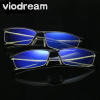 Viodream Anti Blue Violet Light Computer goggles Men Half Frame Aluminium Magnesium Alloy Optical Glasses Frames Eyewear glass