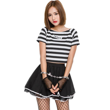 Hot Sale Womens Miss Prisoner Costume Halloween Carnival Adult Cosplay Clothing