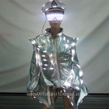 Led Luminous Waiter Uniforms With Glasses Hat Growing Light Up Stage Performance Clothes Halloween Party Nightclub Navy Suit