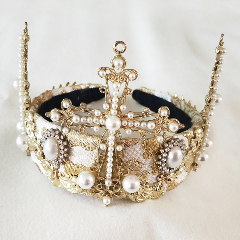 Luxury Baroque Vintage Women Large Gold Color Crystal Full Round Prom Pearl Cross Crown Wedding Pageant Queen Tiara Bridal Hair beauty vintage full round gold baroque crown circle rhinestone wedding queen king tiara pearl bride hair accessories