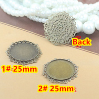 25mm 50pcs Antique Bronze Blank Pendant Trays Bases Cameo Cabochon Setting for Glass/Stickers