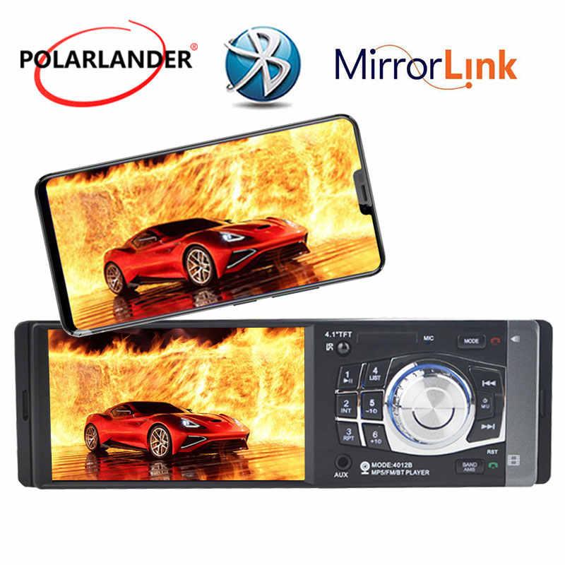 1 din Radio Stereo Auto autoradio lettore Bluetooth MP3/MP4 Lettore HD, Controllo del Volante 4.1 ''FM/USB /TF/EQ 7 colori Bluetooth In Dash