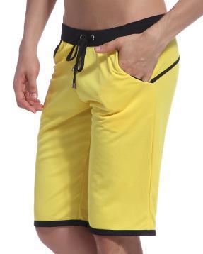 WJ Летние повседневные спортивные шорты, мужские брюки, эластичные Брендовые мужские капри, модные облегающие спортивные шорты длиной до колен, быстросохнущие шорты для тренировок - Цвет: Цвет: желтый