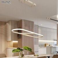 Затемнения светодио дный подвесные светильники круглый прямоугольник лампы для Гостиная столовая Шнур Повесить лампа алюминиевый корпус