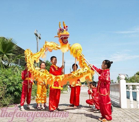 դեղին ոսկե երեխաների չափս ՉԻՆԱԿԱՆ - Կարնավալային հագուստները - Լուսանկար 3