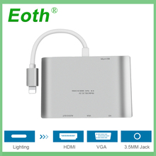 For Lighting to HDMI VGA Jack Audio TV stick Adapter Cable Converter For iPhone X for iPhone 8 7 7 Plus 6 6S For iPad Series YH2 for iphone 8pin interface to hdmi vga jack audio tv adapter cable converter for iphone x 8 7 7plus 6 6s for ipad series