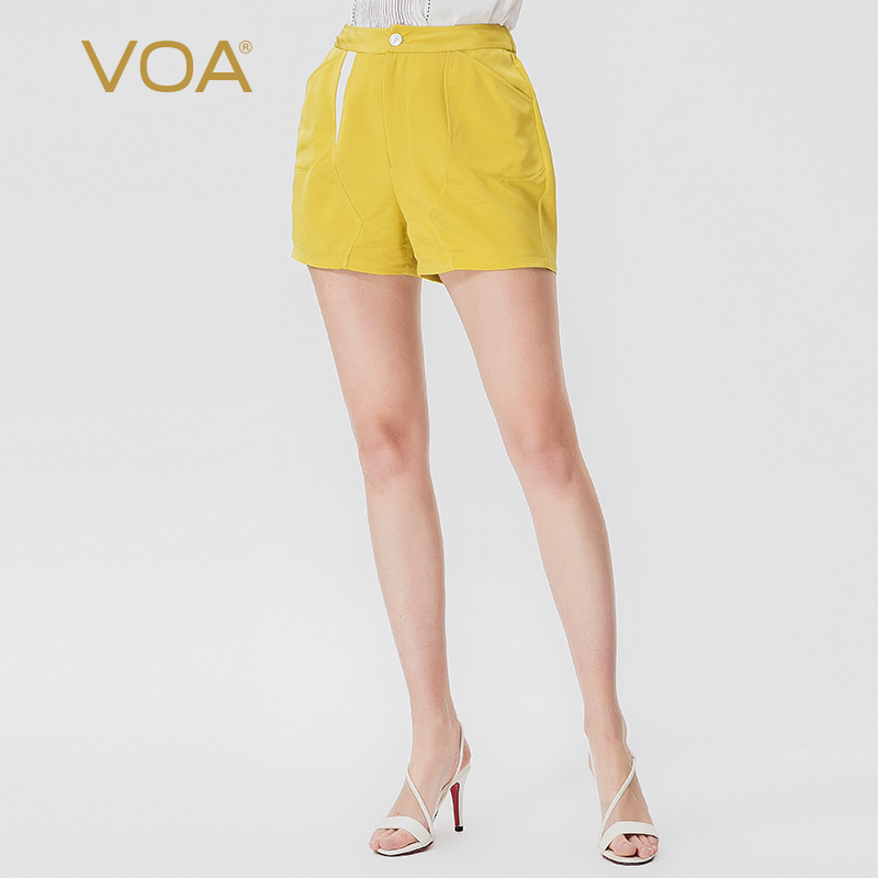 VOA Lemon Yellow Silk Mid Waist Fold Printing Contrast Color Splice Comfortable Breathable Fashion Wild Casual Shorts K965
