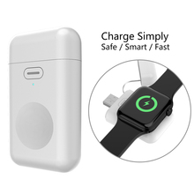 For iWatch 1 2 3 4 Wireless Charger Portable 1000mAH Micro USB 5V 1A Mini Battery Power Bank For Apple Watch iWatch Charger Base