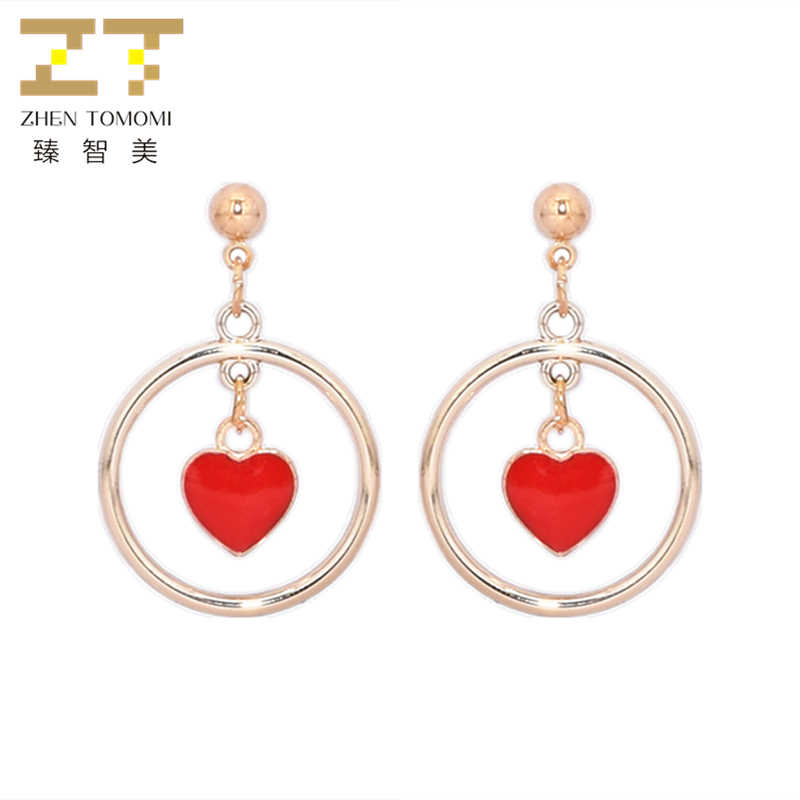 2018 Hot Women's Fashion Simple Metal Ball Earrings Bijoux Geometric Round Red and Black Heart Drop Earrings For Women Jewelry