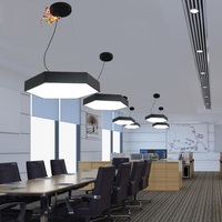 Newest Simple Modern Personality art Hexagon LED Droplight Lamp Conference Room LED Commercial Lighting Line Hanging Chandelier