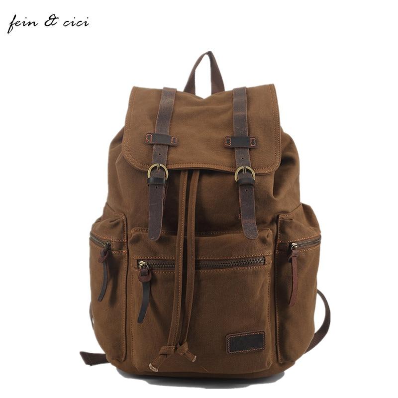 ФОТО Backpack men canvas backpack bucket Military Army Travel Backpacks bag big large jumbo bag brown black grey 2017 new arrivals