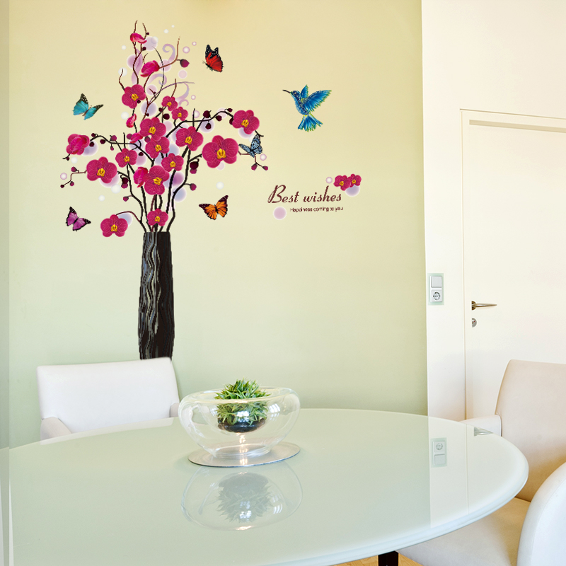Retro butterfly wall sticker for living room Creative <font><b>Home</b></font> <font><b>Decor</b></font> <font><b>elegant</b></font> Chinese style wholesale factory price free shipping
