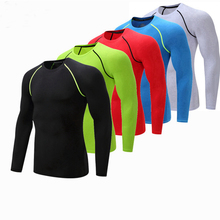 Fitness Men Long Sleeve Running Sports T Shirt Clothing Mens Thermal Muscle Bodybuilding Gym Compression Quick dry Tights Shirt b60182111 bio a200 mens thermal long tights black neon тайтсы длинные