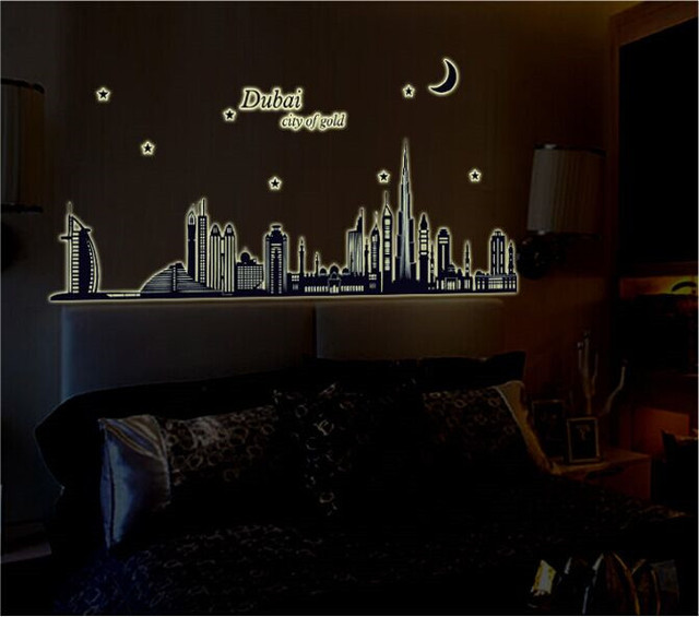 dubai landscape luminous fluorescent wall stickers wallpaper