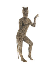 Sexy Woman Costume Spandex Lycra Leopard Print Animal Full Body Zentai Suit with Ear and Tail Skin Tight Unitard Zentai bodysuit(China)