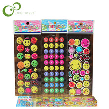5pcs Fashion Brand Kids Toys Cartoon Emoji Smile face Expression 3D Stickers Children PVC Stickers Bubble Stickers(China)