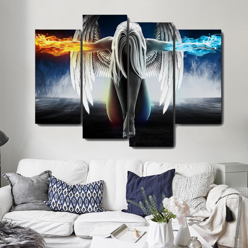 Laeacoo Fallen Angels Wings Canvas Painting Prints Home Decorative Wall Art Paintings Pictures For Living Room Bedroom No Frame