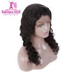 Аманда перуанской человеческих волос, парики полный кружева Средний Размеры шапки с регулируемыми ремнями объемная волна волос парики для