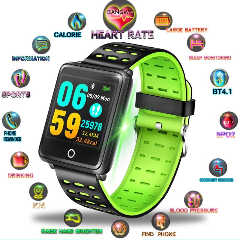 LIGE Banda Inteligente 1.44 Polegada 248*248 IP67 Pressão Arterial Monitor de Freqüência Cardíaca À Prova D' Água Para Mulheres Dos Homens Relógio Do Esporte inteligente pulseira + Caixa
