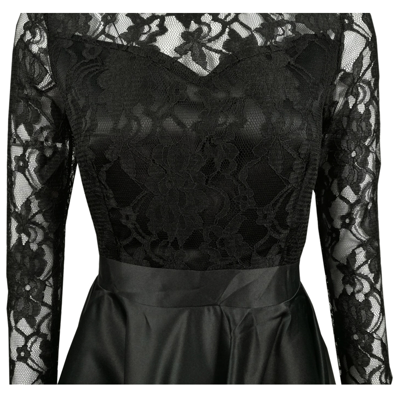 cf4e1c43ff9 SEBOWEL Sexy Black Lace Maxi Party Dress Women Long Sleeve Evening Formal  Dress Autumn Long High Low Pleated Dress Prom Gown-in Dresses from Women s  ...