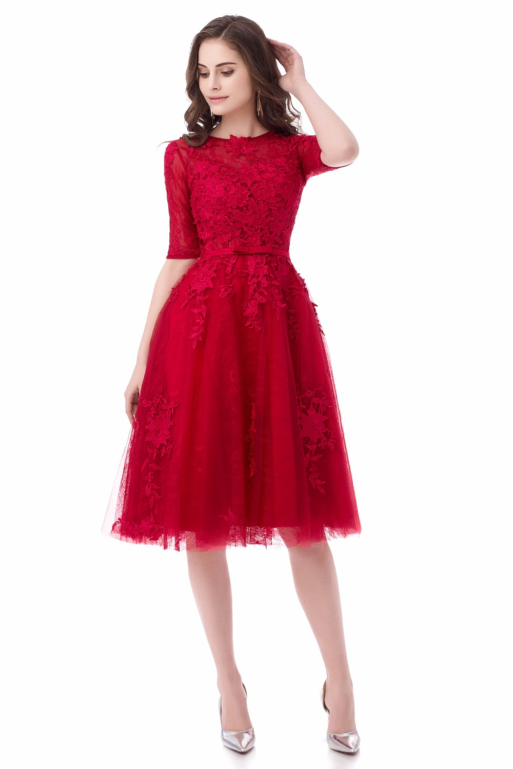 Short Evening Dresses A-Line Women Lace Appliques Robe De Soiree Half Sleeves Elegant Party Formal Prom Dress 2017 Abendkleider 6
