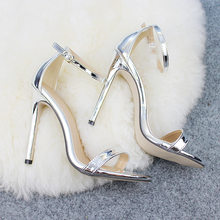 LTARTA Shoes women's Shoes Sandals With Buckle High Heels Gold And Silver Wedding Shoes Large Size 43 ZL-300-7(China)