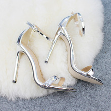 503a9876d240 POADISFOO Shoes women s Shoes Sandals With Buckle High Heels Gold And Silver  Wedding Shoes Large Size